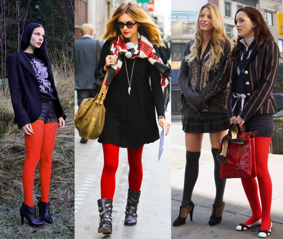 red tights fashion