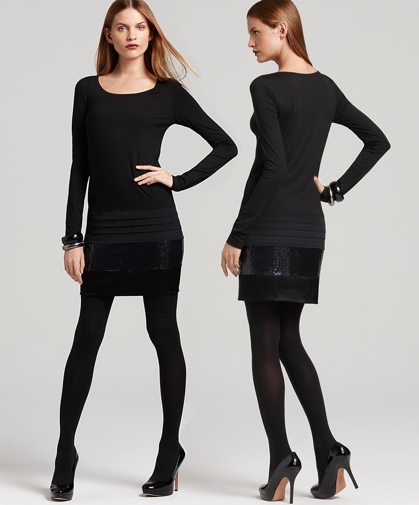 Black dress with black opaque tights