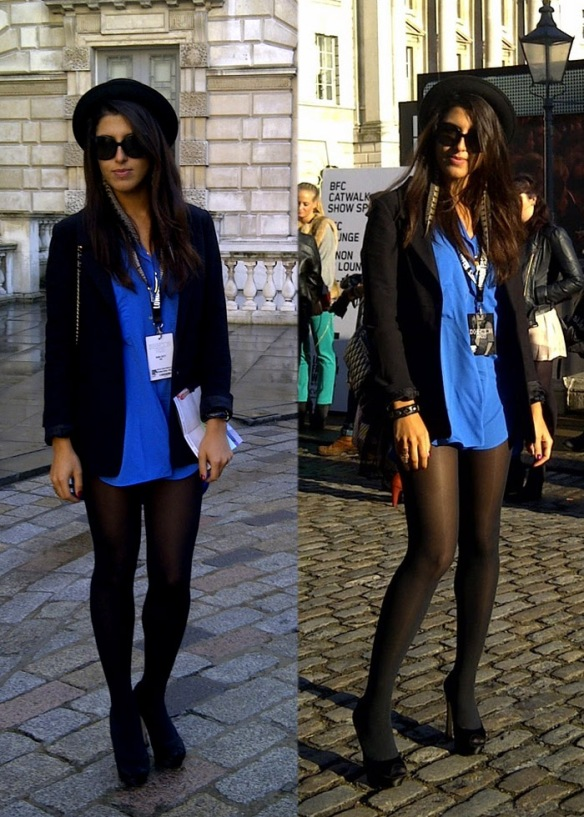 Tights and no skirt, London Fashion Week 2011
