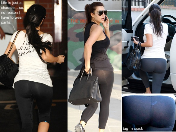 Kim Kardashian black leggings exposed 2