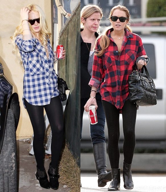 Linday Lohan plaid shirt + leggings