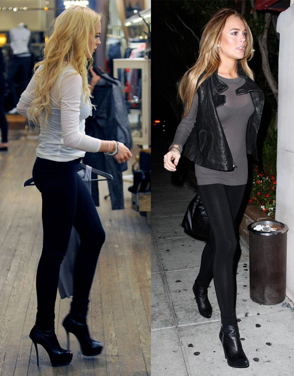 Lindsay Lohan leggings exposed