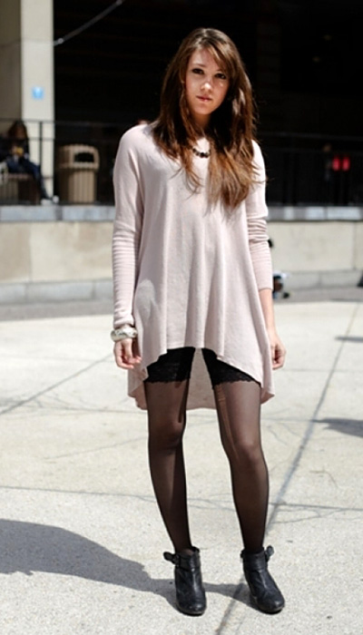 Long sweater and tights