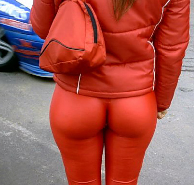 orange tights as pants